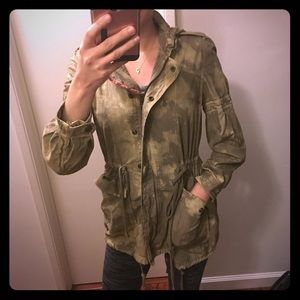 Free People Embroidered Floral Jacket Olive Green